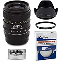 Oshiro 35mm f/2 LD UNC AL Wide Angle Full Frame Prime Lens with Hood, UV, Microfiber for Olympus PEN E-PL7, E-P5, E-PL5, E-PM2, E-P1, E-P2, E-PL1, PL1s, PL2 Micro Four Thirds Digital Cameras (EOS-M43)