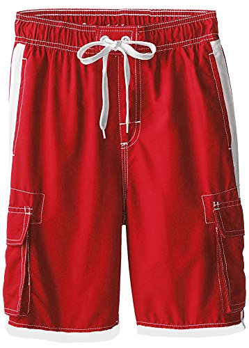 Boys Quick Dry Swim Trunks Cargo Water Shorts Mesh Lining (Red, 8/10) ()