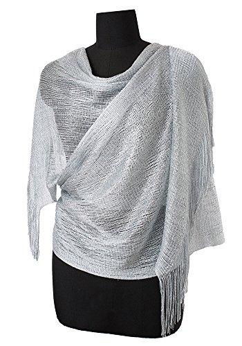 MissShorthair Womens Wedding Evening Wrap Shawl Glitter Metallic Prom Party Scarf with Fringe(Silver Grey) -
