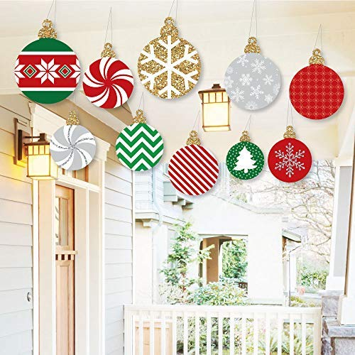 Big Dot of Happiness Hanging Ornaments – Outdoor Holiday and Christmas Hanging Porch & Tree Yard Decorations – 10 Pieces
