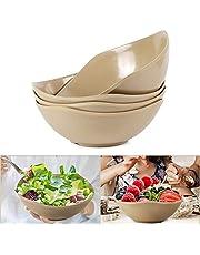 Shopwithgreen Unbreakable Salad Bowls - 30 OZ Rice Husk Fiber Serving Bowls for Salad, Pasta, Cereal, Soup, Snack, Rice, Prep - Dishwasher & Microwave Safe, BPA Free, Set of 4