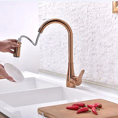 WAWZJ Kitchen Faucet Hot And Cold Water Basin Faucet Copper Pull Fashion Rose Gold Kitchen Faucet