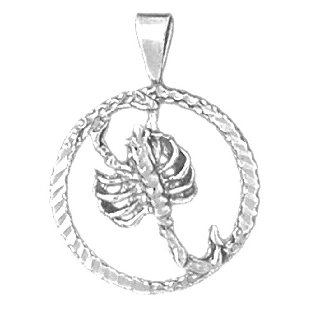 Jewels Obsession Zodiac Rhodium-plated 925 Silver Zodiac Scorpio Pendant with 18 Necklace Scorpio Necklace