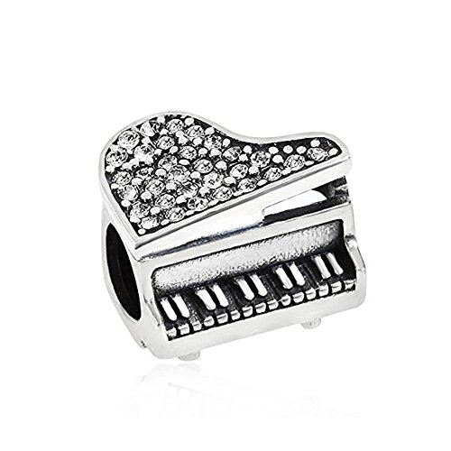Music Piano Charms 925 Sterling Silver Birthstone Crystal Charms 3mm Snake Chain Bracelets (White)
