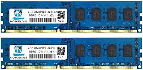 Motoeagle DDR3L-1600 Udimm 8GB Kit (4GBX2), DDR3 PC3 PC3L 12800U 4GB 2RX8 1.35V 240-Pin Dual Rank Non ECC Unbuffered Desktop Memory