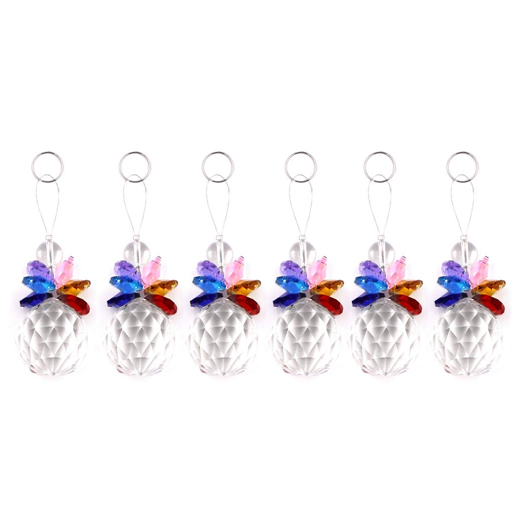 Ymeibe Hanging Crystal Ball Prism Clear Window Prisms Decor Rainbow Octogon Chakra Suncatcher Ornament 1.2 inch 6 pcs Set (Colored)
