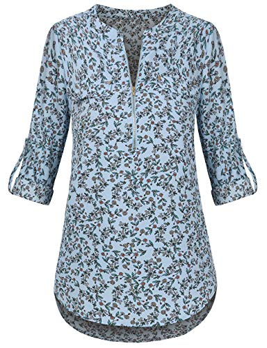 - Faddare Womens Tops and Blouse, Long Sleeve Floral Printed Casual Chiffon Tops Blue XL