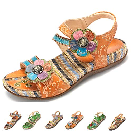 (gracosy Women's Flat Sandals, Summer Beach Sandal Vintage Handmade Flower Peep Toe Straps Sandals Slingback Slipper Brown 11 M US)
