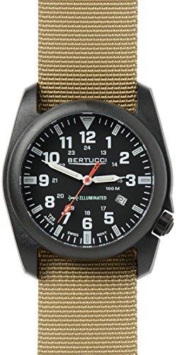 Bertucci Men's 13502 A-5P Illuminated Black Dial Khaki Nylon Band Field Watch - 51y9Q6mBEpL - Bertucci Men's 13502 A-5P Illuminated Black Dial Khaki Nylon Band Field Watch