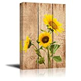 Wall26 - Tall Yellow Sunflowers Over Wood Panels - Nature - Canvas Art Home Decor - 16x24 inches