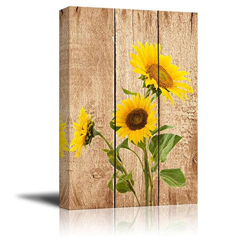 wall26 - Tall Yellow Sunflowers Over Wood Panels - Nature - Canvas Art Home Decor - 12x18 inches