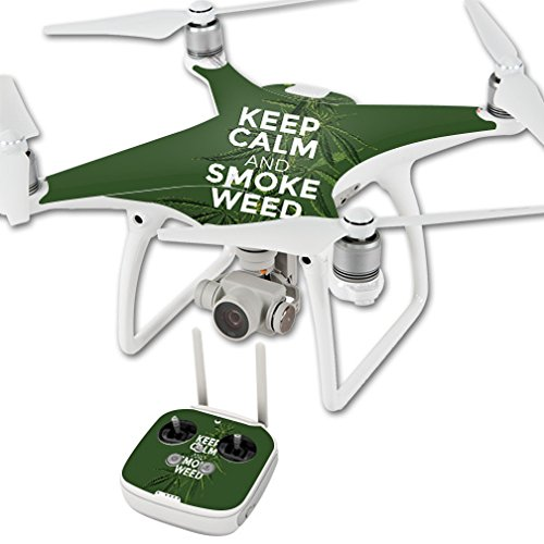 MightySkins Skin for DJI Phantom 4 Quadcopter Drone – Smoke Weed   Protective, Durable, and Unique Vinyl Decal wrap Cover   Easy to Apply, Remove, and Change Styles   Made in The USA Review