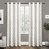 Exclusive Home Curtains Cartago Insulated Woven Blackout Grommet Top Window Curtain Panel Pair, Vanilla, 54x96