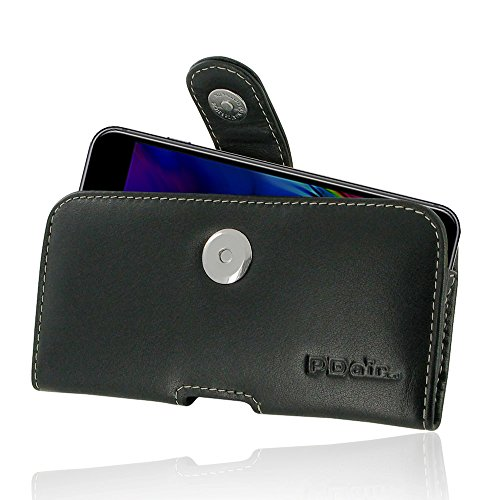 Apple iPhone 8 Case, Leather Case, Pouch, Holster, Wallet Case, Protective Case, Phone Case - Horizontal Pouch Case with Belt Clips (Black) by Pdair