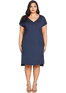 56f228a9f52e Romacci Women Summer Plus Size Dress Deep V Neck Solid Casual Loose  Vestidos Dress Dark Blue