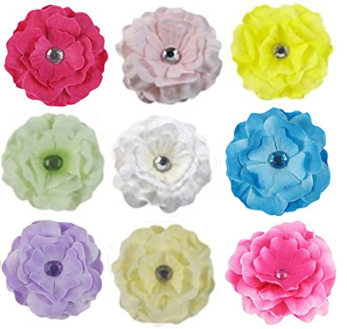 18pc (9x2pc) 2' Cherry Blossom DIY Flowers for Hair Clips, Scrapbooking and More--Color May Vary