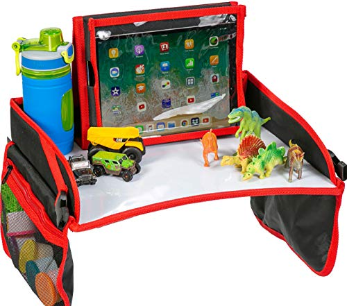 Kids Car Seat Activity Travel Tray – Sturdy Dry Erase Top Includes Detachable Standard Size Tablet Ipad Holder with Headphone Access – Play and Snack Lap Tray for Toddler Accessories ()