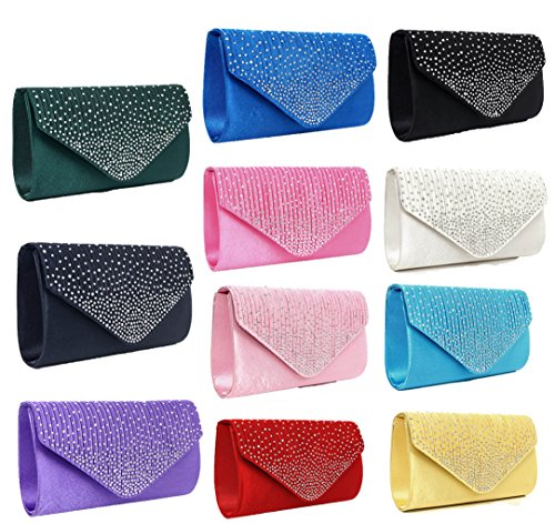 Diamonte Envelope Clutch Shoulder Bag Purse Womens Fashion - 11 Colours