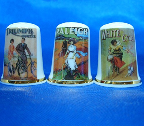 Birchcroft Porcelain China Collectable - Set of Three Thimbles - Cycling Posters