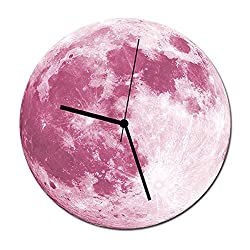 Happy Hours - 30cm Luminous Moon Decor Quartz Wall Clock / Creative Glow in the Dark Wall Stickers for Kids, Boy, Girls Bedroom, Children Room, Playroom With Super Silent Movement(Pink)