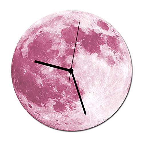 Happy Hours - 30cm Luminous Moon Decor Quartz Wall Clock / Creative Glow in the Dark Wall Stickers for Kids, Boy, Girls Bedroom, Children Room, Playroom With Super Silent (Pink Neon Wall Clock)