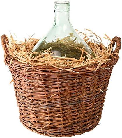 Esschert Design Glasballon 15 Liter in Korb aus Recyceltes Glas, 45,7 x 40,6 x 47 cm, runde Glasflasche, Präsentkorb