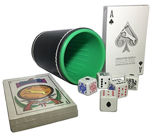 (American Poker Dice Cup Plastic Cubilete with Spanish Naipes and Poker Cardboard Party Playing Cards Deck Casino Game Bundle)