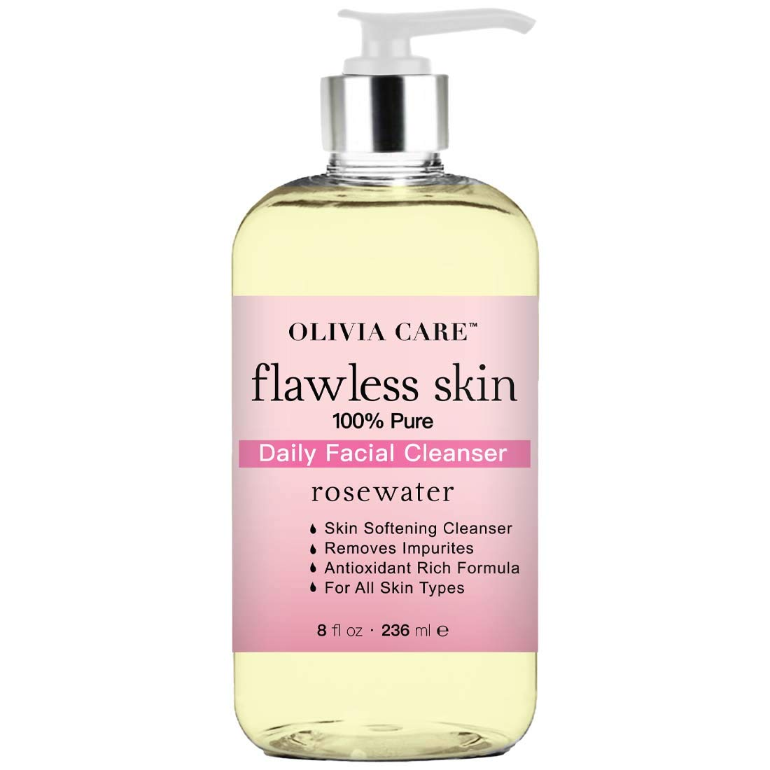 Rose Water Flawless Daily Facial Cleanser - 100% Natural & Pure. Moisturize, Hydrate, Soothes, Cleanses, Softens Skin. Antioxidant Rich Formula - For All Skin Types. Removes Impurities & Dirt - 8 OZ