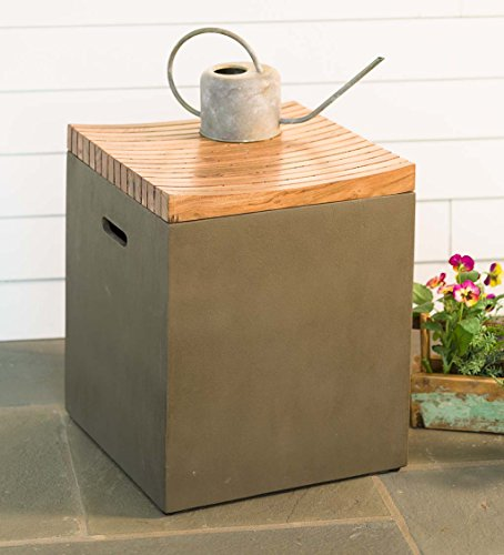 Outdoor Concrete Storage Container Cube with Wood Lid and Built In Handles, Use on Deck, Patio, and Garden, 16 L x 16 W x 18 H by Plow & Hearth