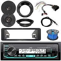 JVC Marine DIN Bluetooth SiriusXM Ready Radio, 2x Infinity Reference 6.5 Shallow Mount 2-Way Speakers, 2x Harley Speaker Adapters, Dash Kit, iDataLink Wiring Kit, Antenna, Enrock 50 Ft Tinned Wire