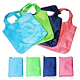HOMIDEA Reusable Grocery Shopping Bags Set of 4, Foldable Grocery Tote with Attached Pouch, Washable, Durable and Lightweight.