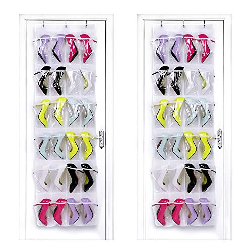 HIPPIH 2 Pack Over The Door Shoe Organizer - 24 Pockets Crystal Clear Hanging Shoe Organizer, White (59 L x 18 W)