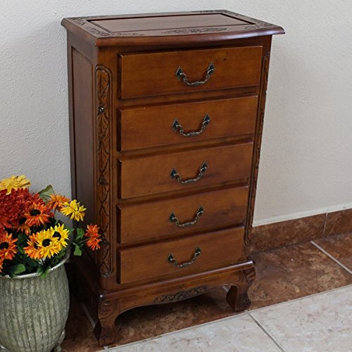 Wood 5-drawer Lingerie Chest with Solid Hardwood Traditional styling (Drawer Traditional Wood)