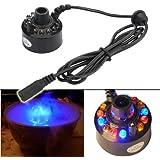 ZJchao(TM) Cool! 12 LED-Ultraschall-Nebel-Hersteller Fogger Wasser-Brunnen-Teich + Netzteil