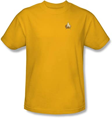Star Trek The Next Generation Uniform Shirt Costume Gold Adult Medium