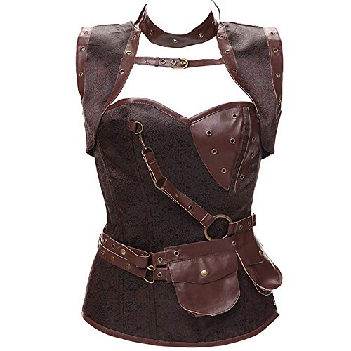 NDJqer Jacquard Women Cosplay Costumes Halloween Clothing Vest Shapewear Corset with Jacket,Brown,S -