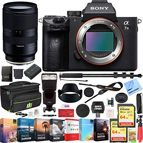 Sony a7 III Full Frame Mirrorless Interchangeable Lens 4K HDR Camera ILCE-7M3 Body with Tamron 28-75mm F/2.8 Di III RXD Full Frame Lens A036 & Deco Gear Backpack Kit 128GB Memory Flash Bundle