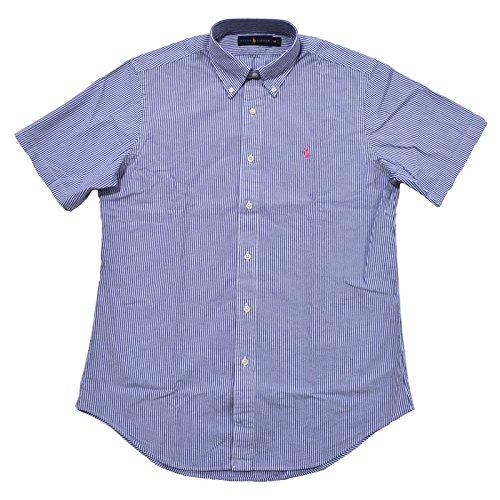 Polo Ralph Lauren Mens Seersucker Short Sleeve Shirt (M, Basic Blue (Ralph Lauren Stripe Shirt)