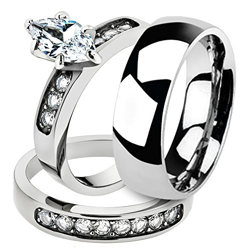 His & Her 3pc Stainless Steel 1.65 Ct Cz Bridal Set & Men's Classic Wedding Band Women's Women's Size 07 Men's 08mm Size 11