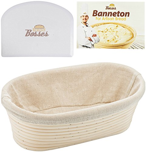 10 inch Oval Banneton Proofing Basket - Set for Professional & Home Bakers (Sourdough Recipe) w/ Bowl Scraper & Brotform Cloth Liner