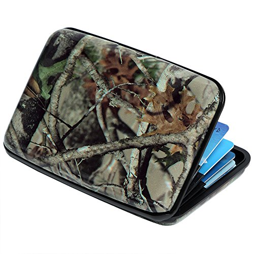 Credit Card Holder Aluminum Wallet RFID Blocking Slim Metal Hard Case (Realistic Forest Camouflage)