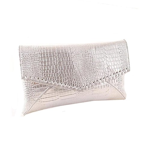 Mily Womens Snakeskin Envelope Clutch Handbag Evening Bag Silver by Mily