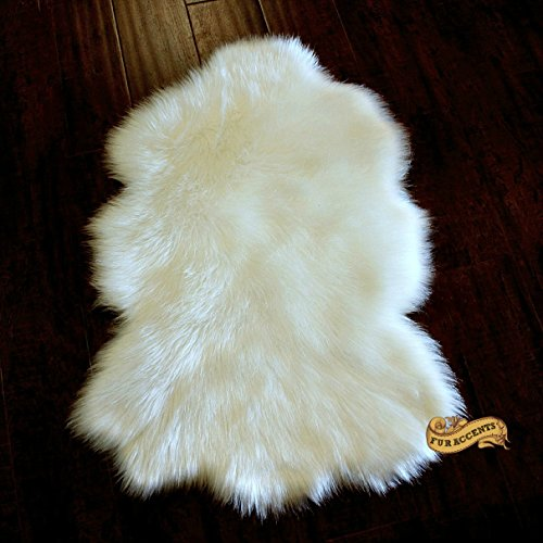 Fur Accents Classic Off White Lambskin Skin Accent Rug Plush Faux Fur Sheepskin (2'x4', Ivory Off White) by Fur Accents