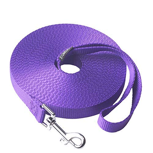 - Siumouhoi Dog/Puppy Obedience Recall Training Agility Lead- 15 ft 20 ft 30 ft 40 ft 50 ft Long Leash -for Training Leash, Play, Safety, Camping,or Backyard (30Feet, Purple)