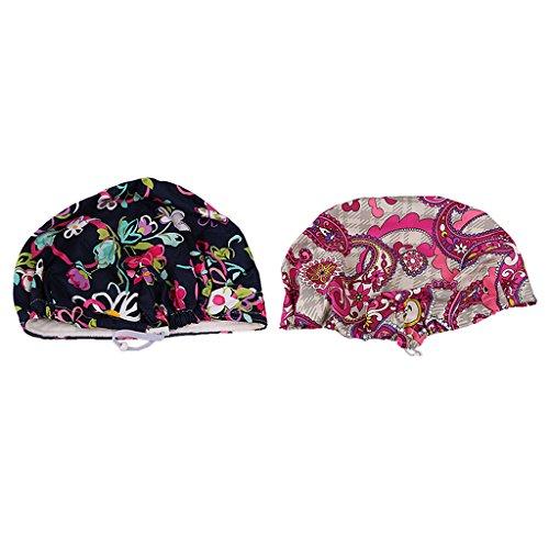 Baoblaze 2/set Adults Printed Cotton Medical Cap Hospital Doctor Nurse Hat Bouffant Scrub Cap