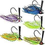THKFISH Fishing Lures Fishing Jigs Swim Jigs Fishing Jigs Bass Mix Color Metal Lead Fishing Jigs Kit 1/5oz 1/4