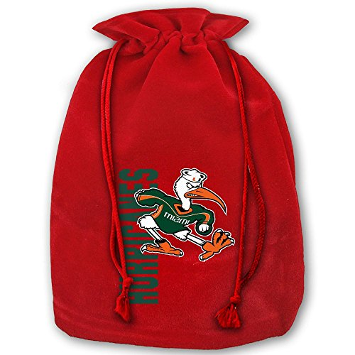 NCAA Miami Hurricanes Practice Logo Santa Sack Large Gift Bags Christmas Bag Portable Funny Decorative Baskets For Christmas Party Gift Wrapping -