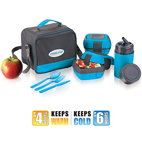 Lunch Box Bag Set for Adults and Kids ~ Pinnacle Insulated Leakproof Thermo Lunch Kit *Lunch Bag *Thermos *2 Lunch Container *Matching Cutlery ~Blue (Insulated Hot Lunch Box compare prices)