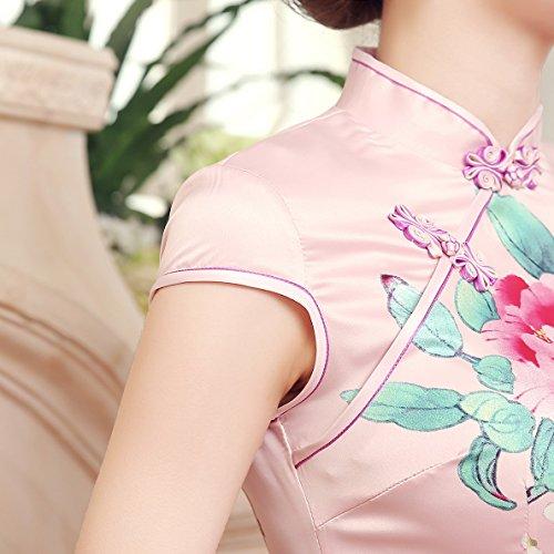 ACVIP Cheongsam Stampa Fiori Vestito Sopraginocchio Pink Gradato