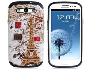 TR 2 en 1 Torre Eiffel Imprimir plástico y silicona protectora para el Samsung Galaxy S3/i9300